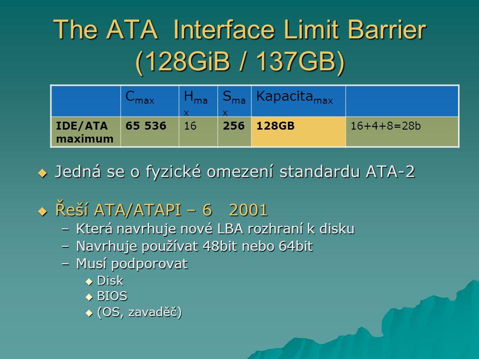 The ATA Interface Limit Barrier (128GiB / 137GB)  Jedná se o fyzické omezení standardu ATA-2  Řeší ATA/ATAPI – 62001 –Která navrhuje nové LBA rozhraní k disku –Navrhuje používat 48bit nebo 64bit –Musí podporovat  Disk  BIOS  (OS, zavaděč) C max H ma x S ma x Kapacita max IDE/ATA maximum 65 53616256128GB16+4+8=28b