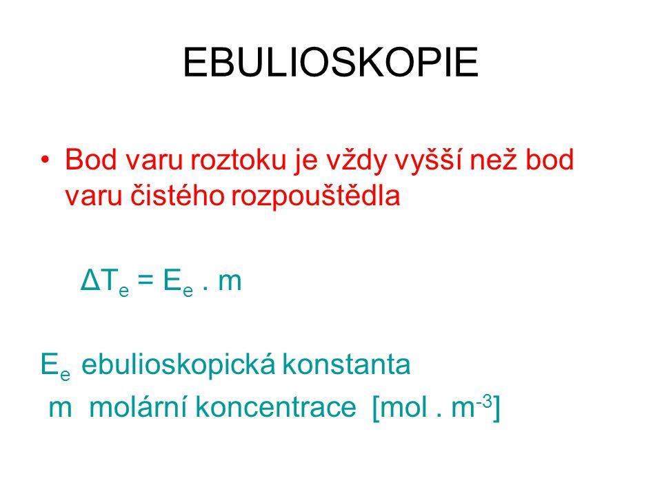 EBULIOSKOPIE Bod varu roztoku je vždy vyšší než bod varu čistého rozpouštědla ΔT e = E e. m E e ebulioskopická konstanta m molární koncentrace [mol. m
