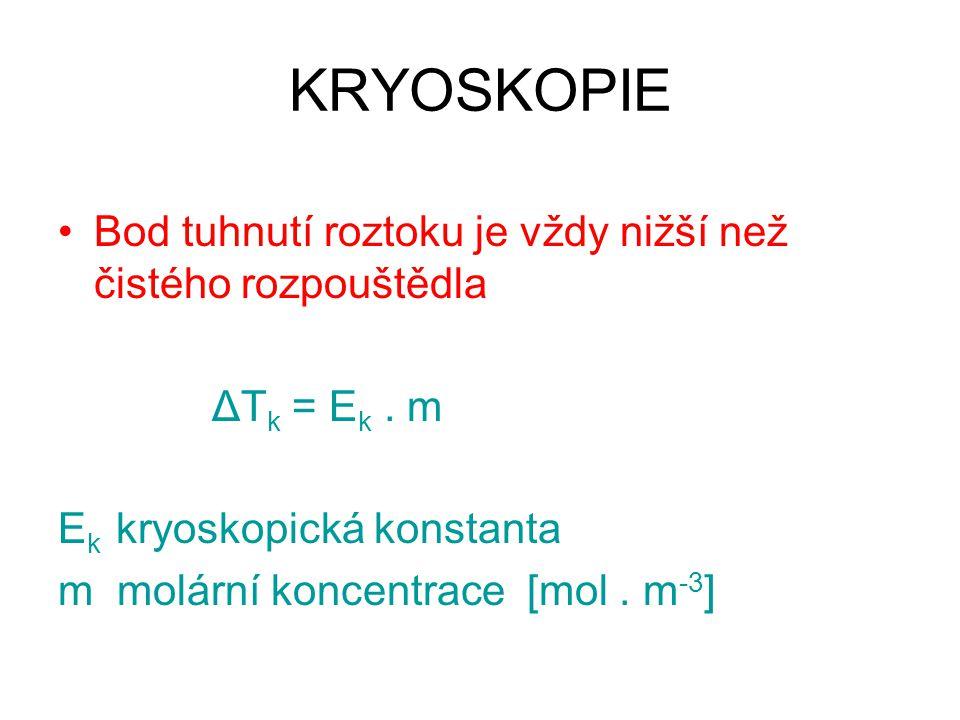 KRYOSKOPIE Bod tuhnutí roztoku je vždy nižší než čistého rozpouštědla ΔT k = E k. m E k kryoskopická konstanta m molární koncentrace [mol. m -3 ]