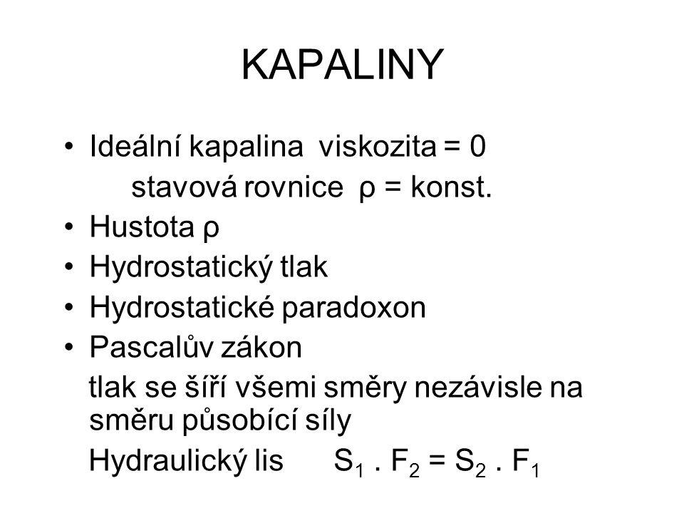 KAPALINY Ideální kapalina viskozita = 0 stavová rovnice ρ = konst. Hustota ρ Hydrostatický tlak Hydrostatické paradoxon Pascalův zákon tlak se šíří vš