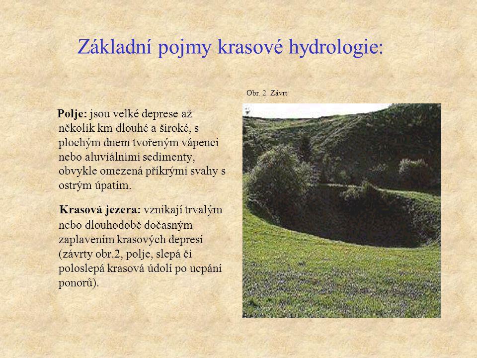 Základní pojmy krasové hydrologie: Polje: jsou velké deprese až několik km dlouhé a široké, s plochým dnem tvořeným vápenci nebo aluviálními sedimenty