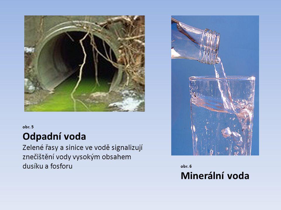 obr. 5 Odpadní voda Zelené řasy a sinice ve vodě signalizují znečištění vody vysokým obsahem dusíku a fosforu obr. 6 Minerální voda