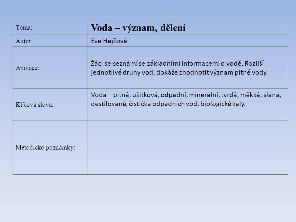 T é ma: Voda – význam, dělení Autor: Eva Hejčová Anotace: Žáci se seznámí se základními informacemi o vodě. Rozliší jednotlivé druhy vod, dokáže zhodn