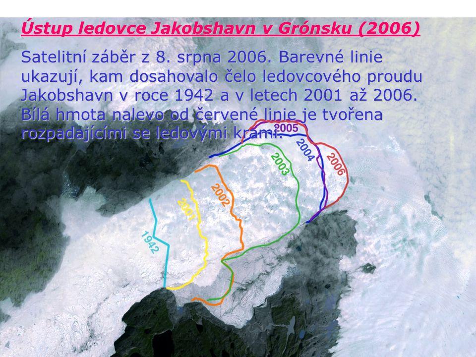 Ústup ledovce Jakobshavn v Grónsku (2006) Satelitní záběr z 8. srpna 2006. Barevné linie ukazují, kam dosahovalo čelo ledovcového proudu Jakobshavn v