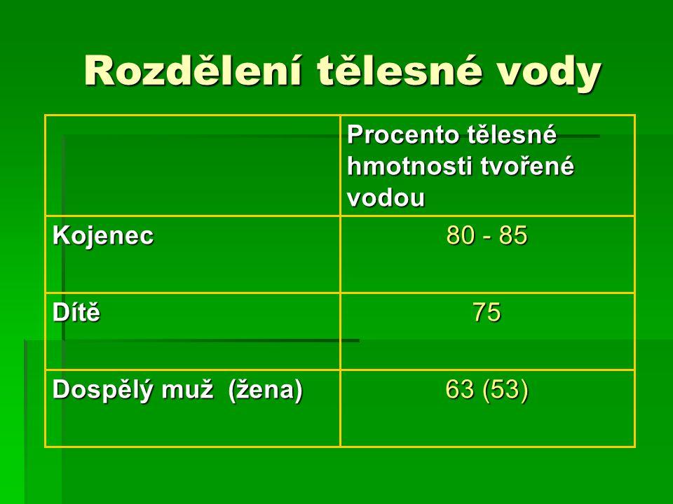 Rozdělení tělesné vody 63 (53) Dospělý muž (žena) 75Dítě 80 - 85 Kojenec Procento tělesné hmotnosti tvořené vodou