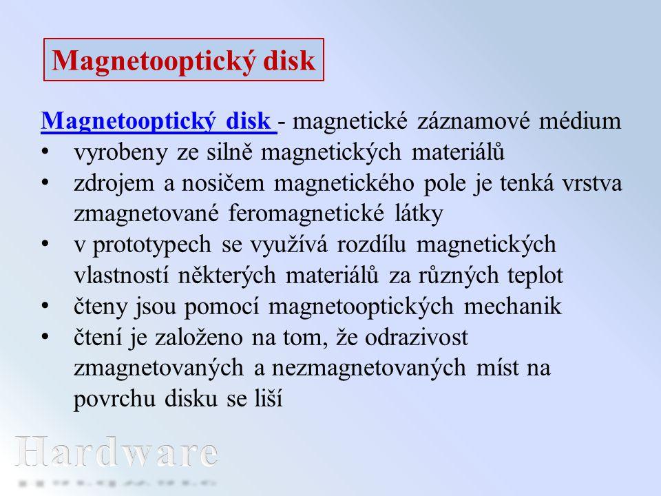 Magnetooptický disk Magnetooptický disk - magnetické záznamové médium vyrobeny ze silně magnetických materiálů zdrojem a nosičem magnetického pole je