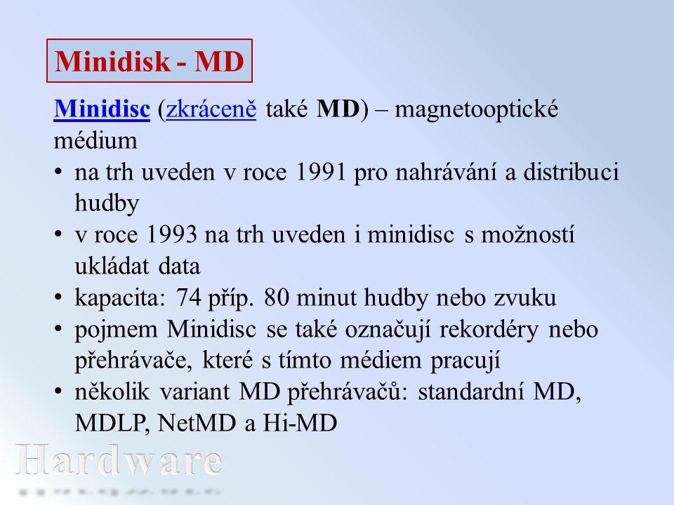 Minidisk - MD MinidiscMinidisc (zkráceně také MD) – magnetooptické médiumzkráceně na trh uveden v roce 1991 pro nahrávání a distribuci hudby v roce 19