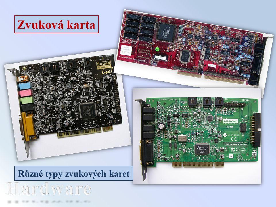 Zvuková karta Různé typy zvukových karet