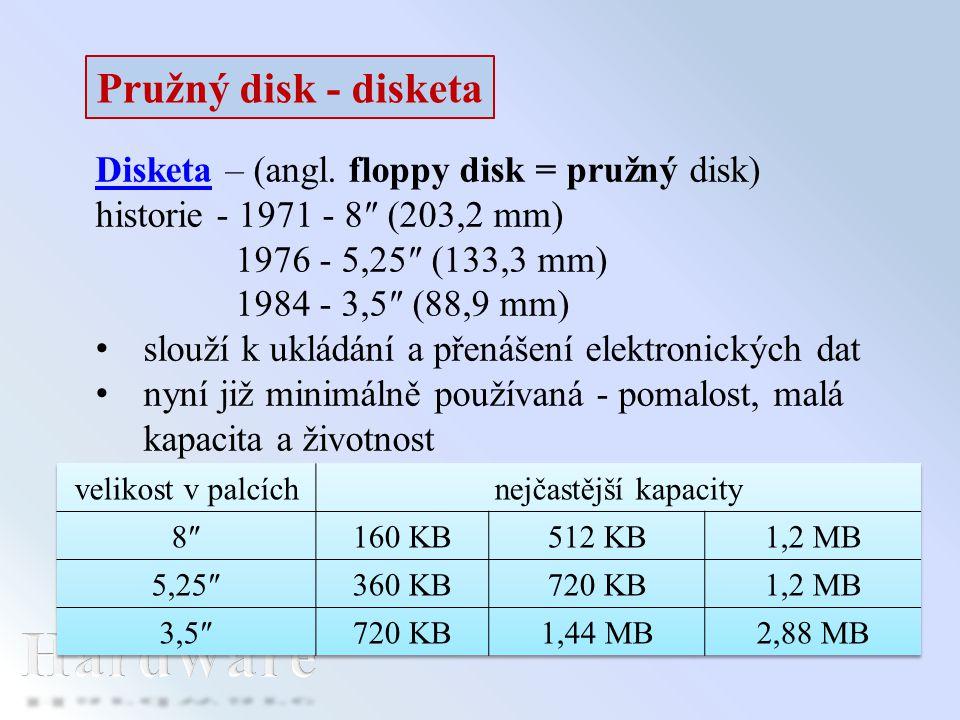 DisketaDisketa – (angl. floppy disk = pružný disk) historie - 1971 - 8″ (203,2 mm) 1976 - 5,25″ (133,3 mm) 1984 - 3,5″ (88,9 mm) slouží k ukládání a p