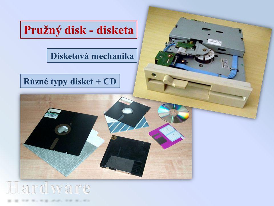 Disketová mechanika Pružný disk - disketa Různé typy disket + CD