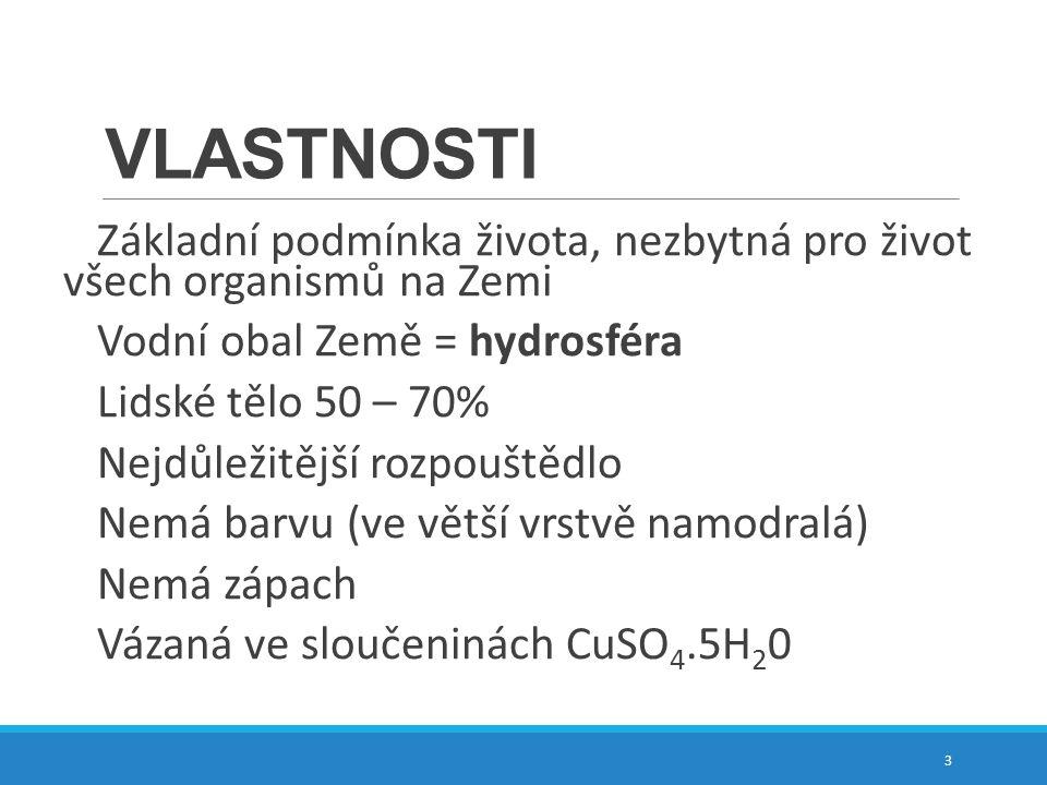 ANOMÁLIE VODY – atypické hodnoty díky vodíkovým můstkům Tt = O o C teplota tání Tv = 100 o C teplota varu ρ= 1000 kg.m -3 hustota 4
