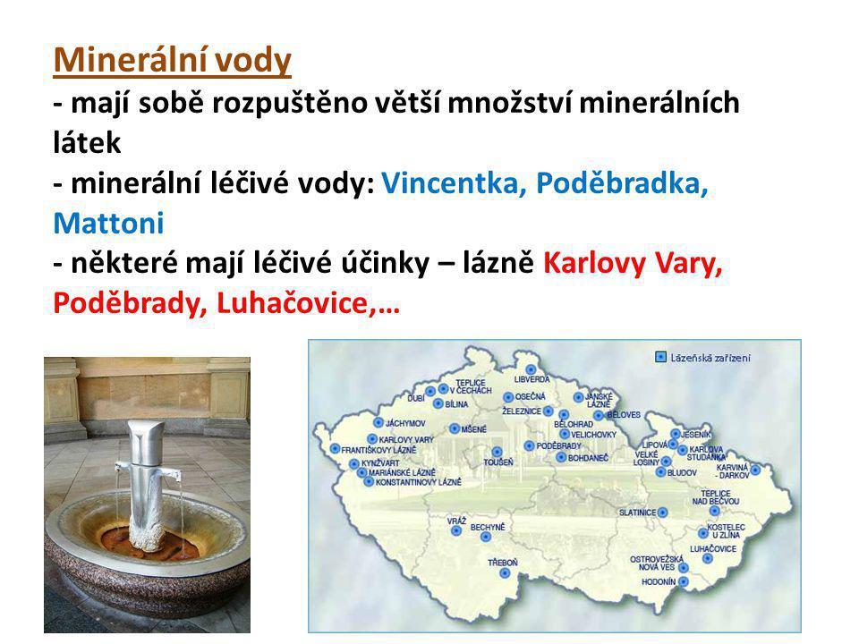 Minerální vody - mají sobě rozpuštěno větší množství minerálních látek - minerální léčivé vody: Vincentka, Poděbradka, Mattoni - některé mají léčivé ú