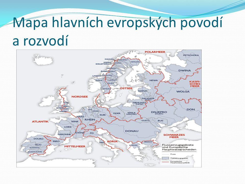 Mapa hlavních evropských povodí a rozvodí