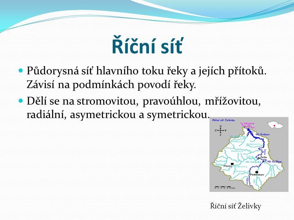 Říční síť Půdorysná síť hlavního toku řeky a jejích přítoků. Závisí na podmínkách povodí řeky. Dělí se na stromovitou, pravoúhlou, mřížovitou, radiáln