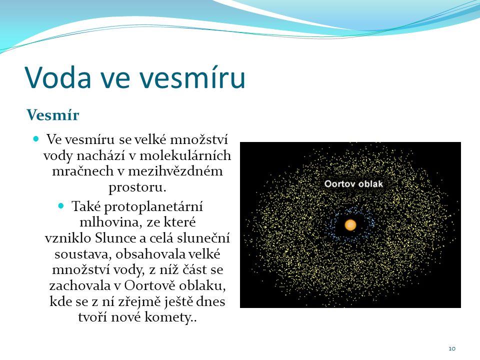 Voda ve vesmíru Vesmír Ve vesmíru se velké množství vody nachází v molekulárních mračnech v mezihvězdném prostoru.