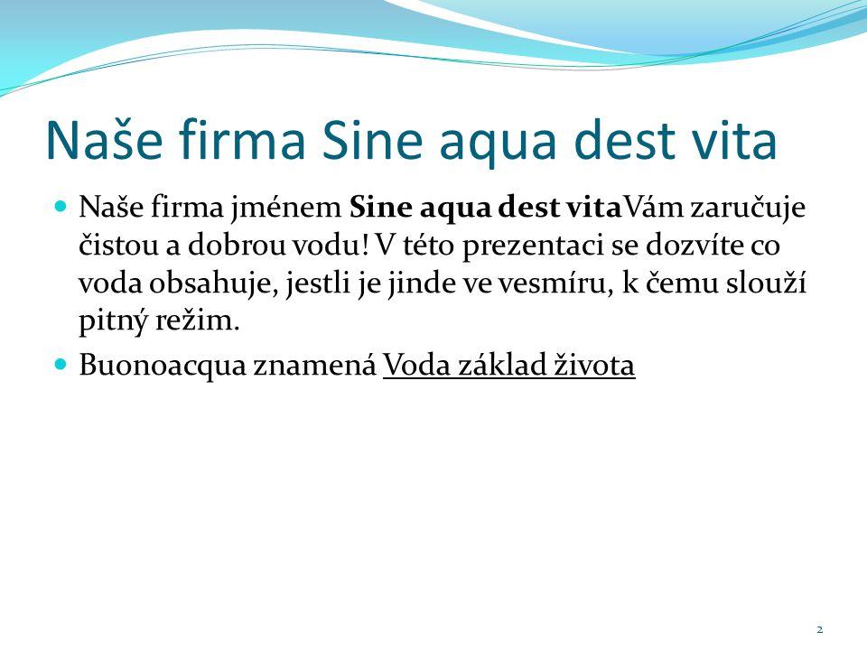 Naše firma Sine aqua dest vita Naše firma jménem Sine aqua dest vitaVám zaručuje čistou a dobrou vodu.