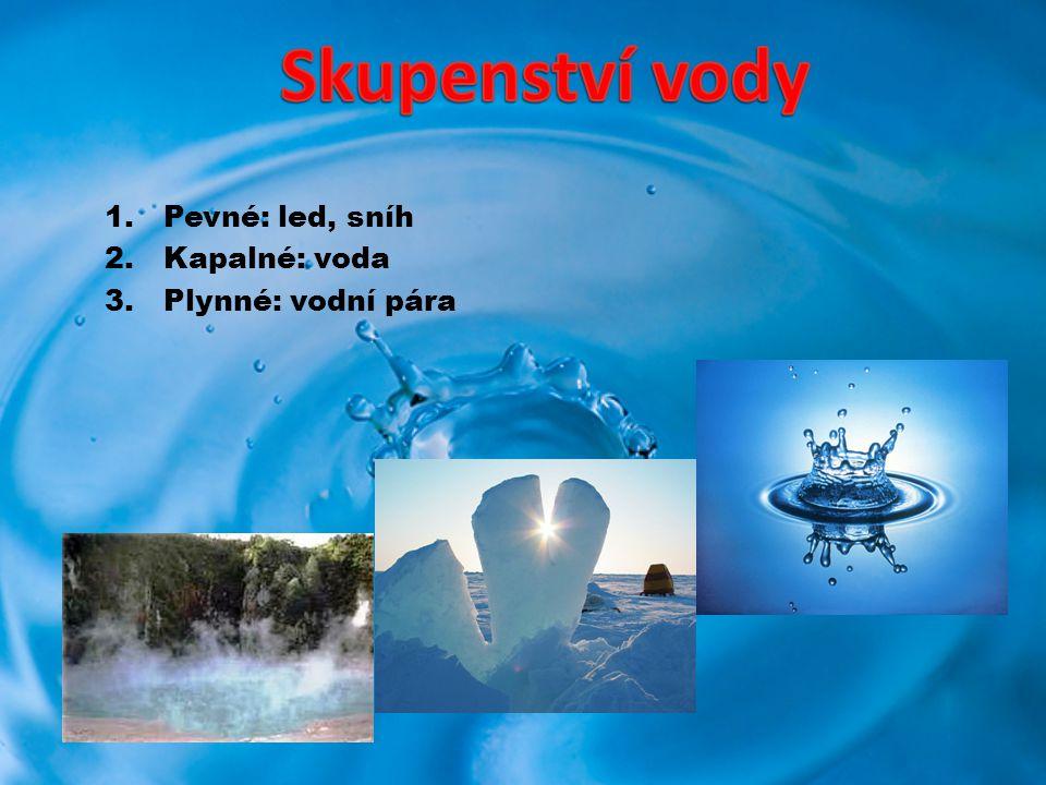 1.Pevné: led, sníh 2.Kapalné: voda 3.Plynné: vodní pára