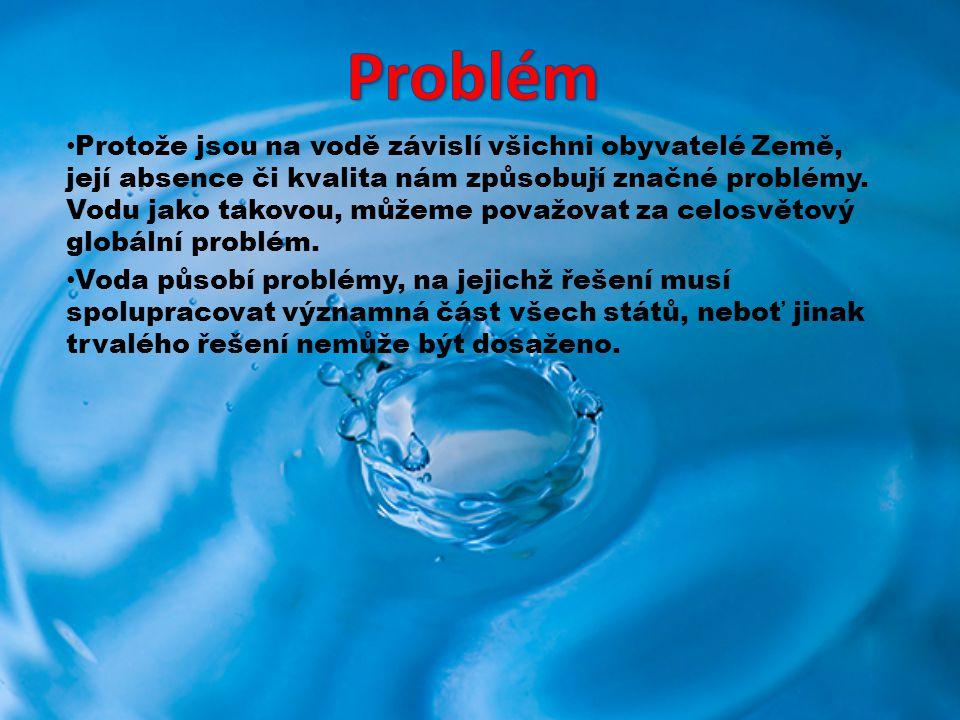 Protože jsou na vodě závislí všichni obyvatelé Země, její absence či kvalita nám způsobují značné problémy. Vodu jako takovou, můžeme považovat za cel