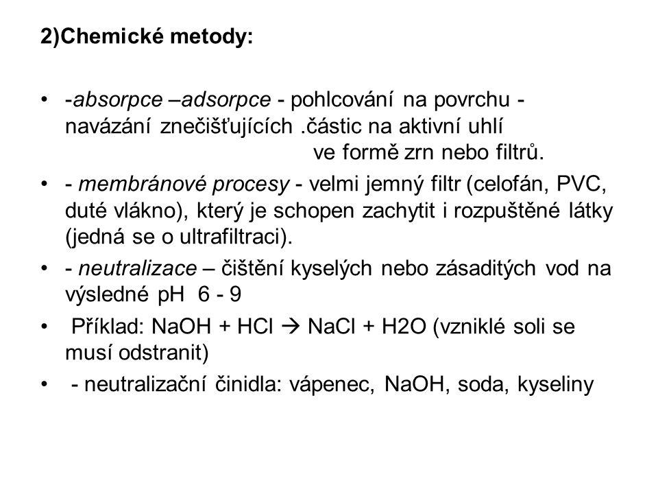 2)Chemické metody: -absorpce –adsorpce - pohlcování na povrchu - navázání znečišťujících.částic na aktivní uhlí ve formě zrn nebo filtrů. - membránové