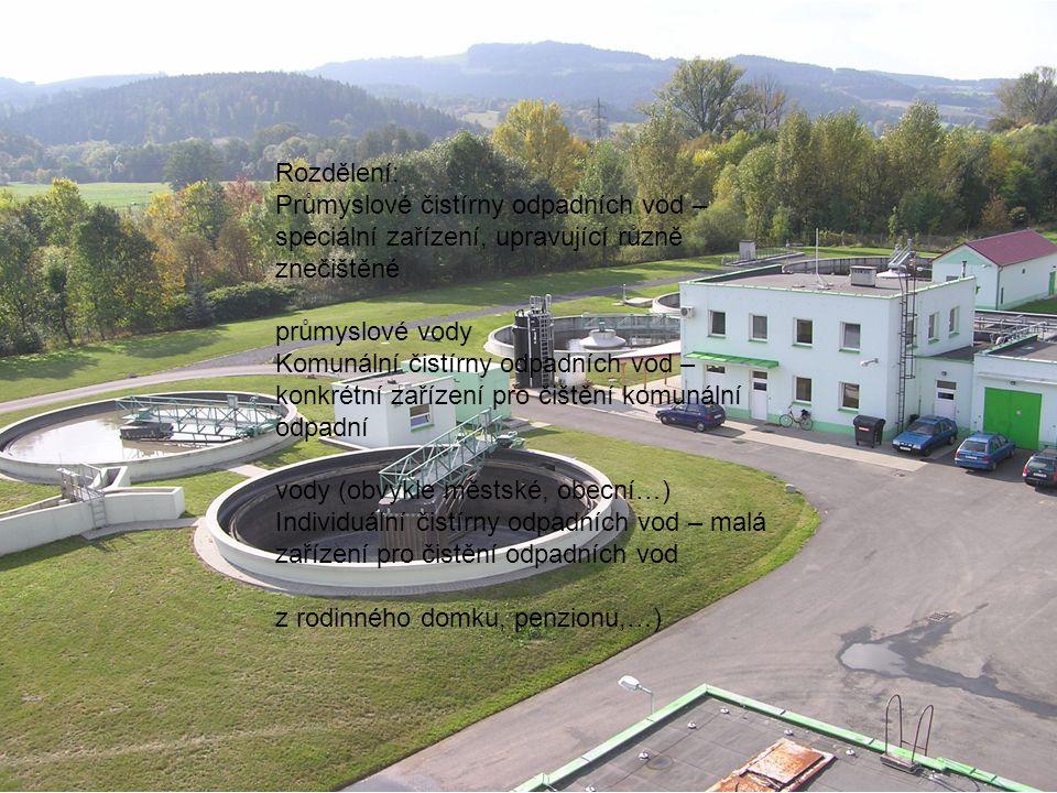 Rozdělení: Průmyslové čistírny odpadních vod – speciální zařízení, upravující různě znečištěné průmyslové vody Komunální čistírny odpadních vod – konk