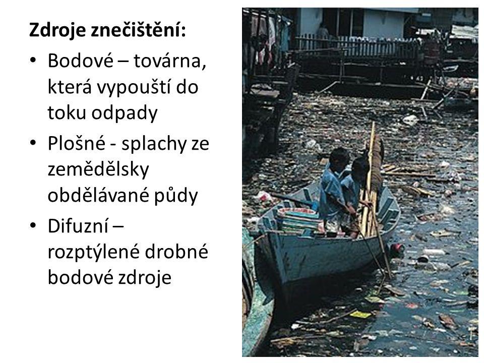 Zdroje znečištění: Bodové – továrna, která vypouští do toku odpady Plošné - splachy ze zemědělsky obdělávané půdy Difuzní – rozptýlené drobné bodové zdroje
