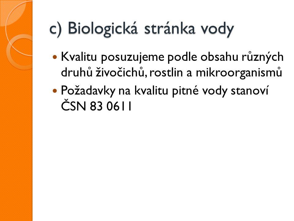 c) Biologická stránka vody Kvalitu posuzujeme podle obsahu různých druhů živočichů, rostlin a mikroorganismů Požadavky na kvalitu pitné vody stanoví Č