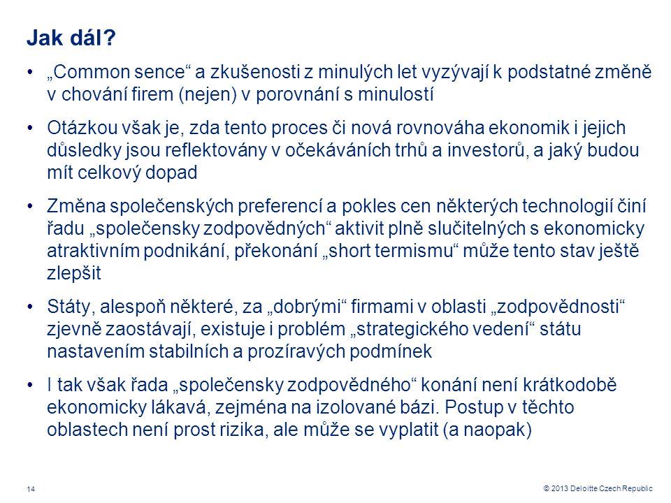 14 © 2013 Deloitte Czech Republic Jak dál.
