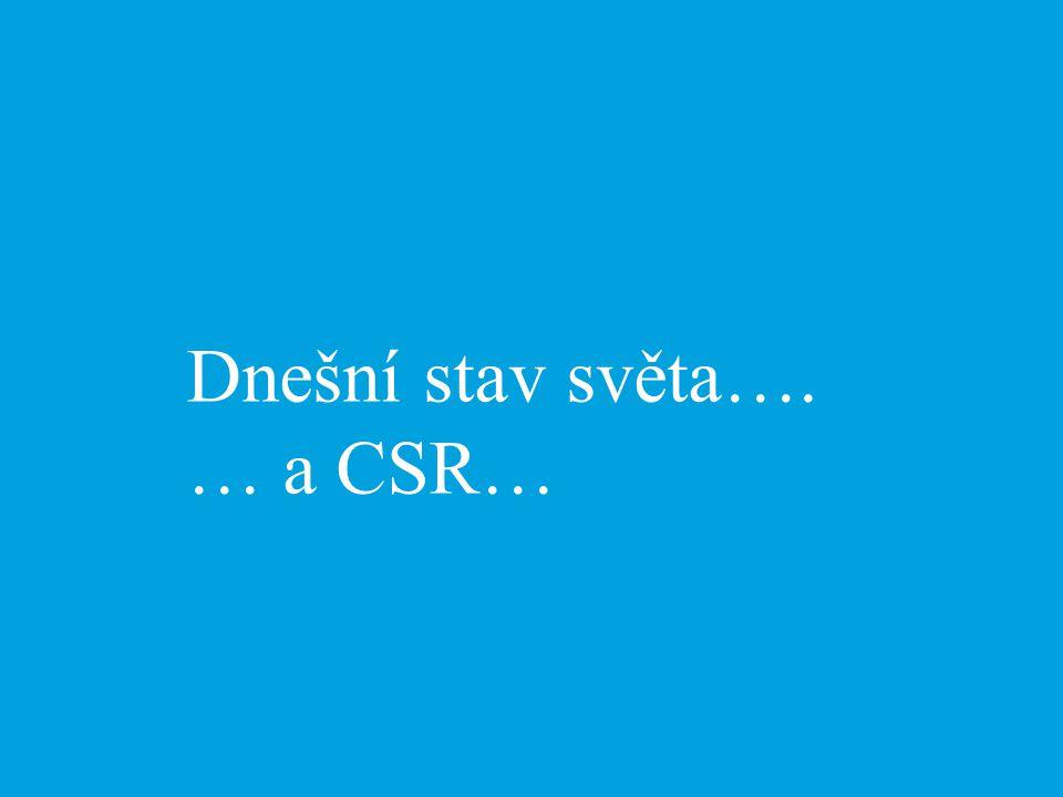 Dnešní stav světa…. … a CSR…
