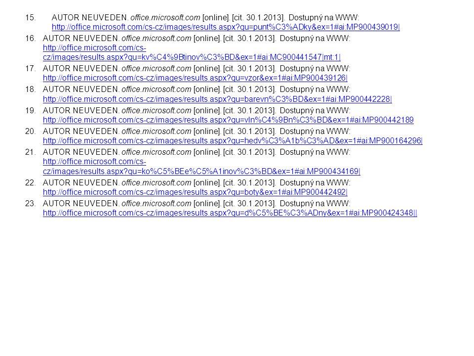 15.AUTOR NEUVEDEN. office.microsoft.com [online]. [cit. 30.1.2013]. Dostupný na WWW: http://office.microsoft.com/cs-cz/images/results.aspx?qu=punt%C3%