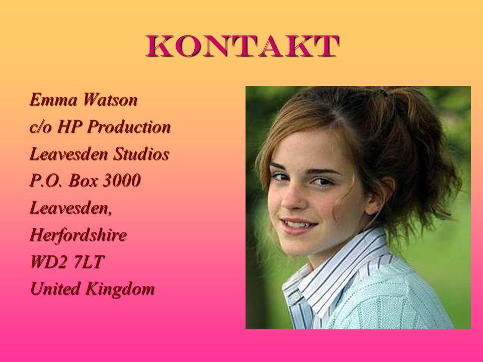 kontakt Emma Watson c/o HP Production Leavesden Studios P.O.