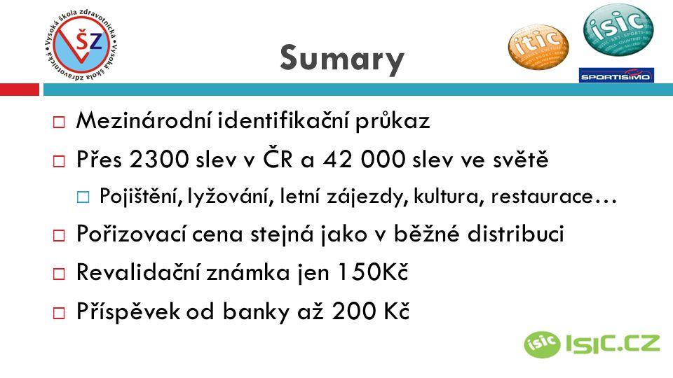 MMezinárodní identifikační průkaz PPřes 2300 slev v ČR a 42 000 slev ve světě PPojištění, lyžování, letní zájezdy, kultura, restaurace… PPořizovací cena stejná jako v běžné distribuci RRevalidační známka jen 150Kč PPříspěvek od banky až 200 Kč Sumary