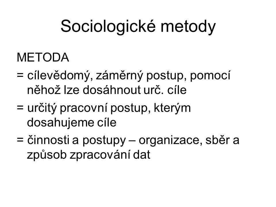 Sociologické metody METODA = cílevědomý, záměrný postup, pomocí něhož lze dosáhnout urč. cíle = určitý pracovní postup, kterým dosahujeme cíle = činno