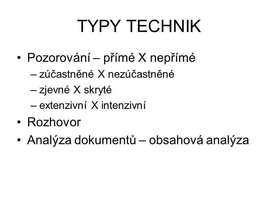 TYPY TECHNIK Pozorování – přímé X nepřímé –zúčastněné X nezúčastněné –zjevné X skryté –extenzivní X intenzivní Rozhovor Analýza dokumentů – obsahová a