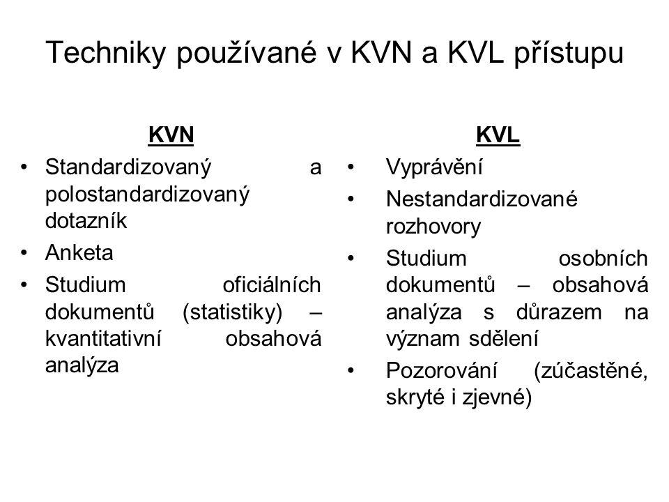 Techniky používané v KVN a KVL přístupu KVN Standardizovaný a polostandardizovaný dotazník Anketa Studium oficiálních dokumentů (statistiky) – kvantitativní obsahová analýza KVL Vyprávění Nestandardizované rozhovory Studium osobních dokumentů – obsahová analýza s důrazem na význam sdělení Pozorování (zúčastěné, skryté i zjevné)