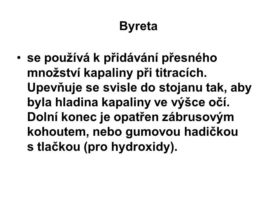 Byreta se používá k přidávání přesného množství kapaliny při titracích. Upevňuje se svisle do stojanu tak, aby byla hladina kapaliny ve výšce očí. Dol