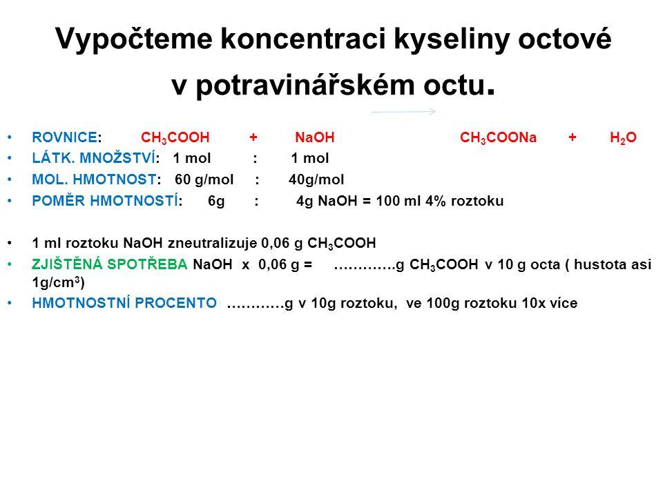 Vypočteme koncentraci kyseliny octové v potravinářském octu. ROVNICE: CH 3 COOH + NaOH CH 3 COONa + H 2 O LÁTK. MNOŽSTVÍ: 1 mol : 1 mol MOL. HMOTNOST: