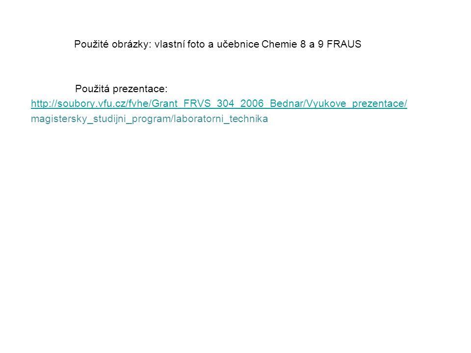 Použité obrázky: vlastní foto a učebnice Chemie 8 a 9 FRAUS Použitá prezentace: http://soubory.vfu.cz/fvhe/Grant_FRVS_304_2006_Bednar/Vyukove_prezenta