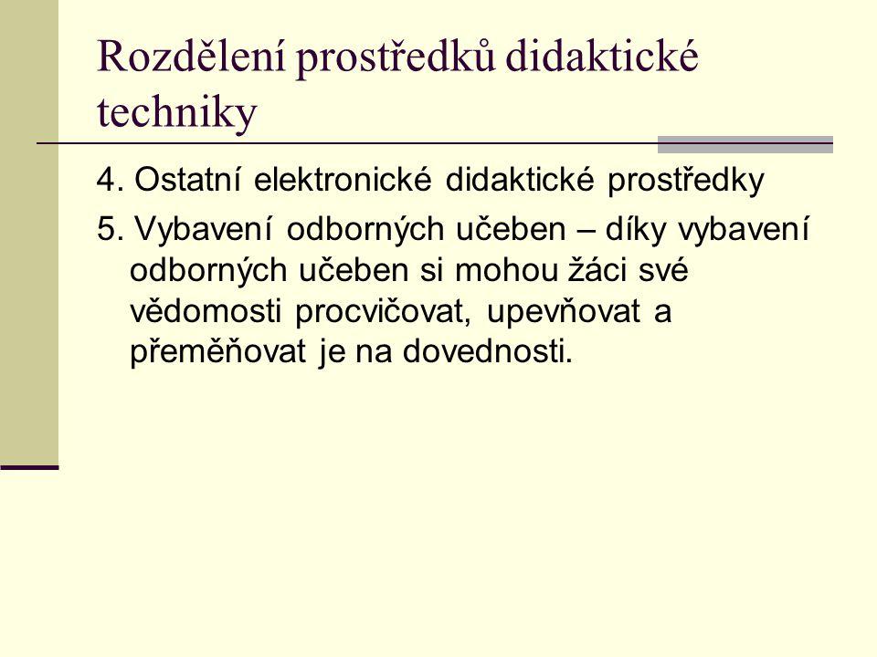Rozdělení prostředků didaktické techniky 4.Ostatní elektronické didaktické prostředky 5.