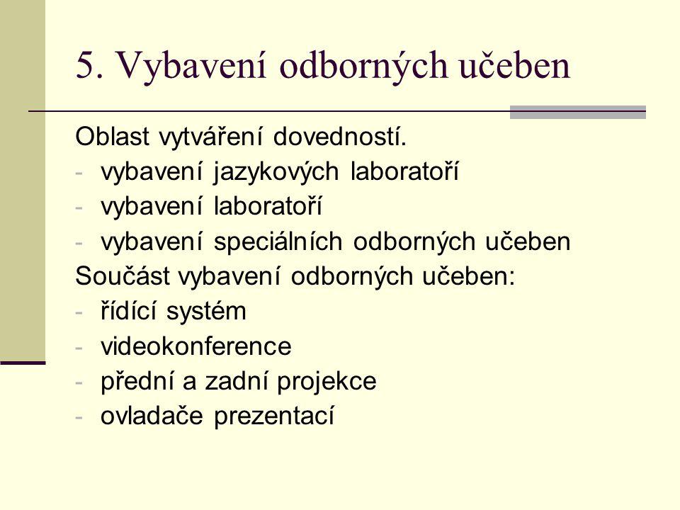 5.Vybavení odborných učeben Oblast vytváření dovedností.