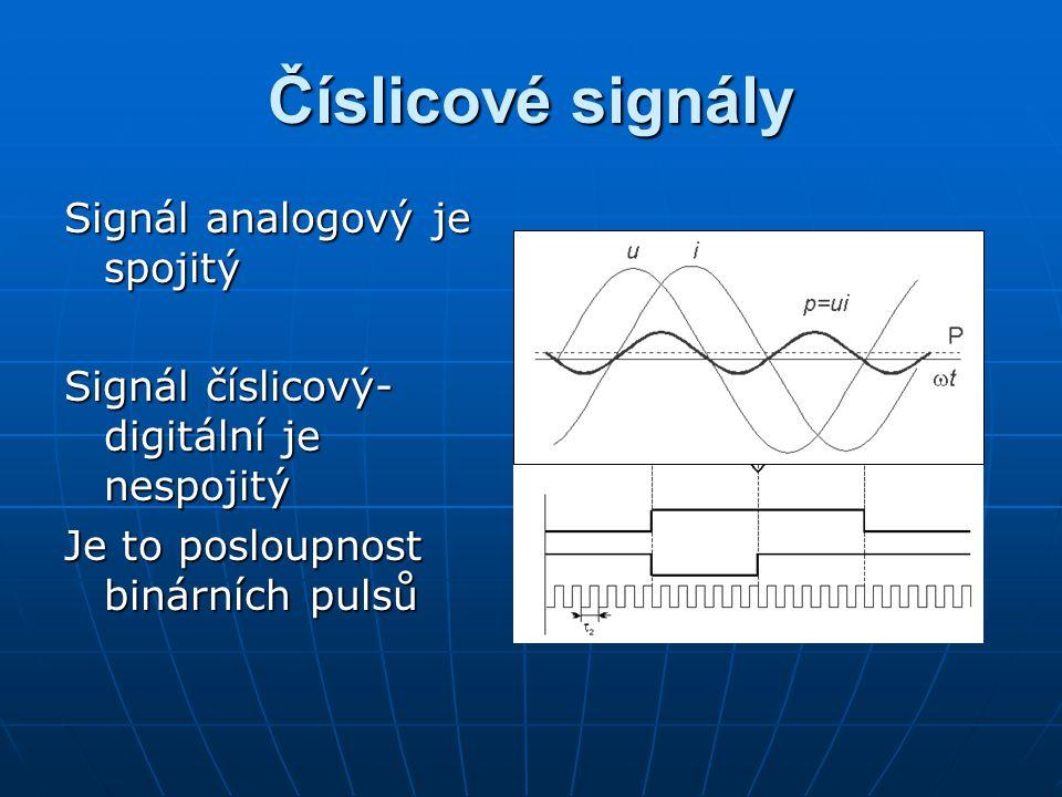 Číslicové signály Signál analogový je spojitý Signál číslicový- digitální je nespojitý Je to posloupnost binárních pulsů