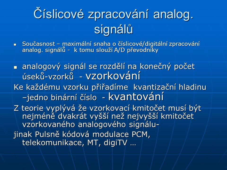 Číslicové zpracování analog. signálů Současnost – maximální snaha o číslicové/digitální zpracování analog. signálů - k tomu slouží A/D převodníky Souč