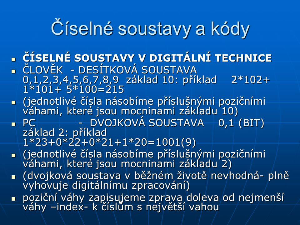 Číselné soustavy a kódy ČÍSELNÉ SOUSTAVY V DIGITÁLNÍ TECHNICE ČÍSELNÉ SOUSTAVY V DIGITÁLNÍ TECHNICE ČLOVĚK - DESÍTKOVÁ SOUSTAVA 0,1,2,3,4,5,6,7,8,9 zá