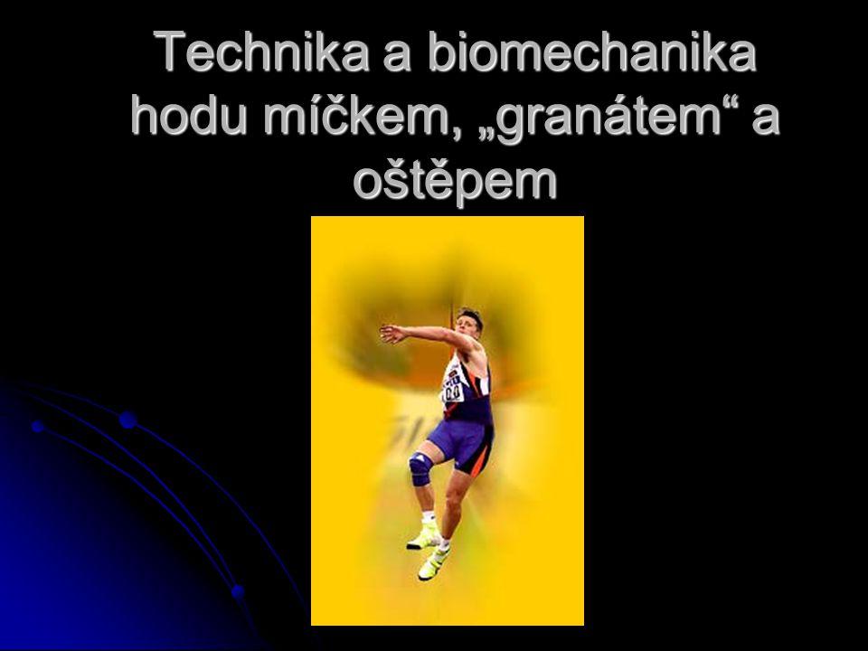 """Technika a biomechanika hodu míčkem, """"granátem"""" a oštěpem"""