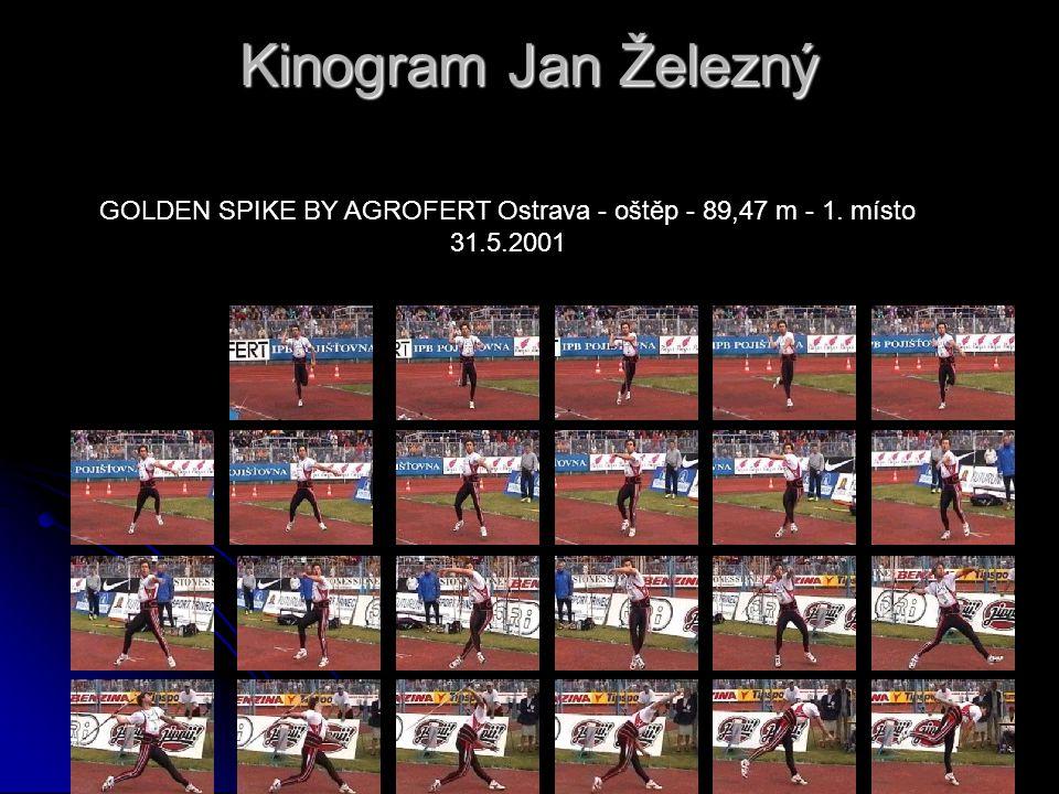 Kinogram Jan Železný GOLDEN SPIKE BY AGROFERT Ostrava - oštěp - 89,47 m - 1. místo 31.5.2001