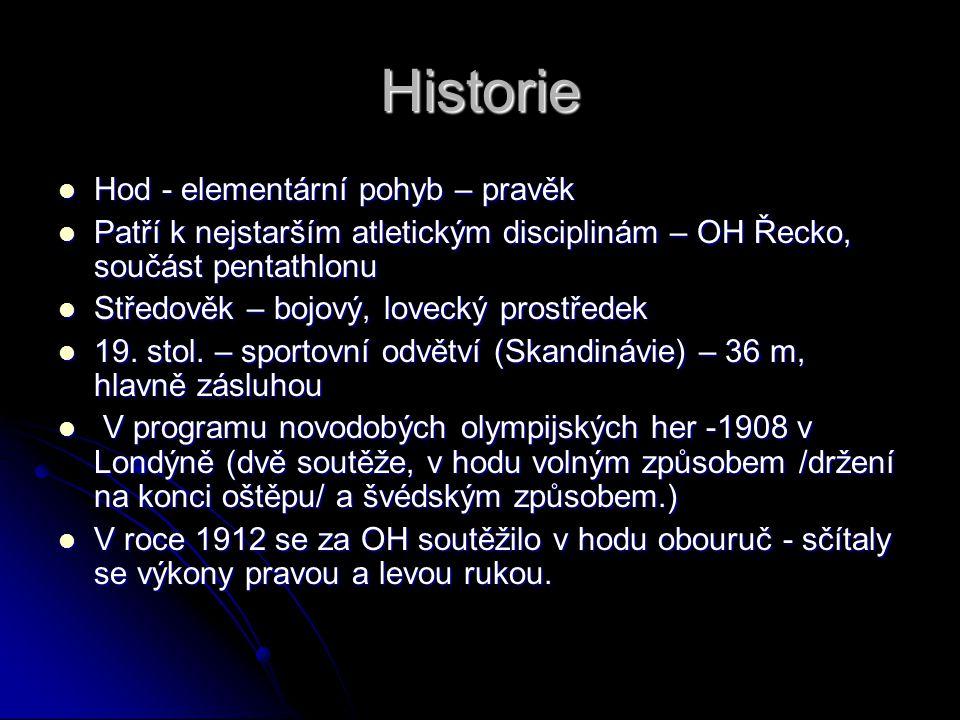 Historie Hod - elementární pohyb – pravěk Hod - elementární pohyb – pravěk Patří k nejstarším atletickým disciplinám – OH Řecko, součást pentathlonu P