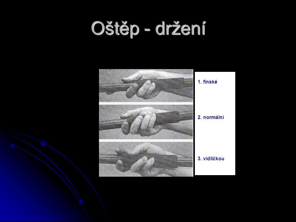 Oštěp - držení 1 1. finské 2. normální 3. vidličkou