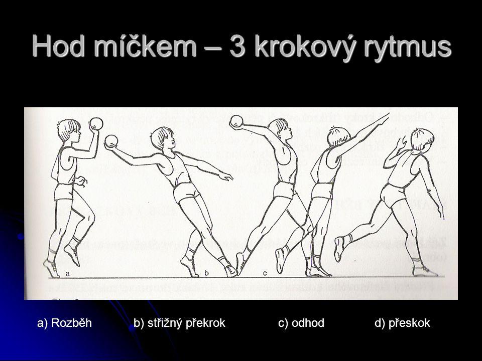 4 krokový rytmus první krok – pravoudruhý krok - levou třetí krok -pravou čtvrtý krok – levou s došlapem na patu vypuštění oštěpu a přeskok