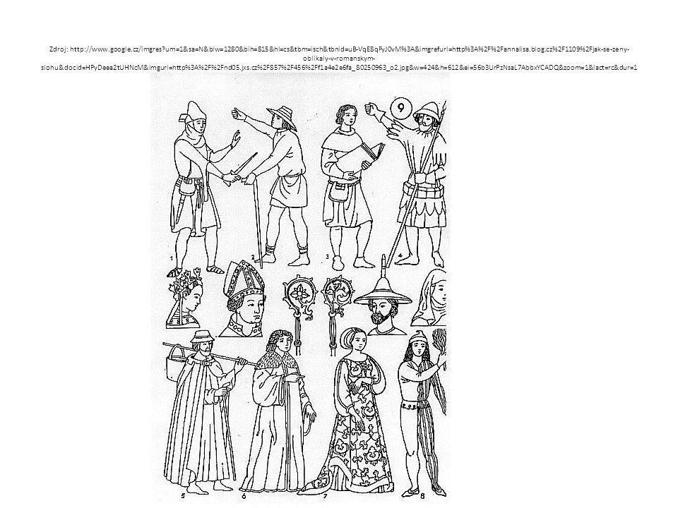 MUŽI oděv je košilovitá suknice ke kolenům (někdy zezadu svázaná stuhami a vpředu sepnutá knoflíky) a úzké přiléhavé nohavice punčochového tvaru vrchní oděv je tvořen kabátcem (ve 14.