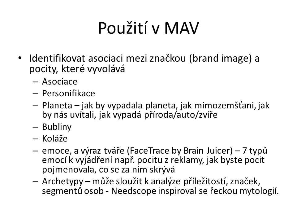 Použití v MAV Identifikovat asociaci mezi značkou (brand image) a pocity, které vyvolává – Asociace – Personifikace – Planeta – jak by vypadala planet