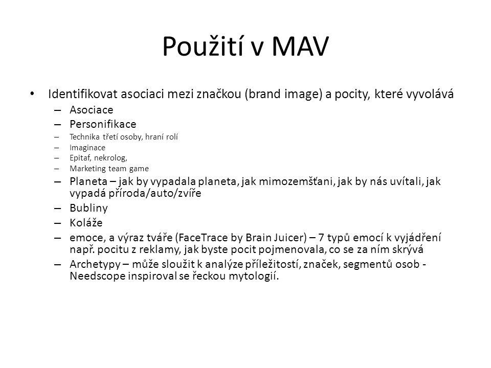 Použití v MAV Identifikovat asociaci mezi značkou (brand image) a pocity, které vyvolává – Asociace – Personifikace – Technika třetí osoby, hraní rolí